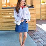 Denim skirt outfit idea via Peaches In A Pod blog.
