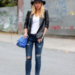 leather jacket outfit leather lace and jeans