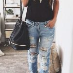 Distressed jeans | Fashionista | Pinterest | Fashion, Outfits and Boyfriend jeans  outfit