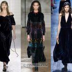 Dresses Fall-Winter 2017-2018 Fashion Trends: Black evening velvet dresses