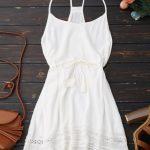 sale Spaghetti Straps Drawstring Waist Summer Dress - WHITE S