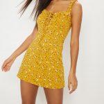 Mustard Floral Print Frill Detail Shift Dress