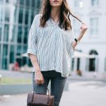 striped shirt casual outfit, street style, easy summer look  striped_shirt_zara_grey_jeans_mango_pointed_loafers_casual_outfit-4