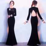 Elegant Black Long Tail Winter Evening Dresses T Shirt Fashion Back  Velveteen Long Sleeved Hollow Ball Gown HY021 Top Evening Dresses Best Evening  Dresses