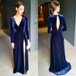 2018 Sexy Navy Blue Long Sleeves Evening Dresses Winter Style High Split  Open Back Long Velvet Prom Dresses Luxury Celebrity Dresses E126 Evening  Maxi