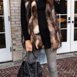 #winter #outfits brown and black fur vest with gray leggings. Click To Shop  This Look.