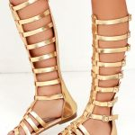 Alexandria Gold Tall Gladiator Sandals