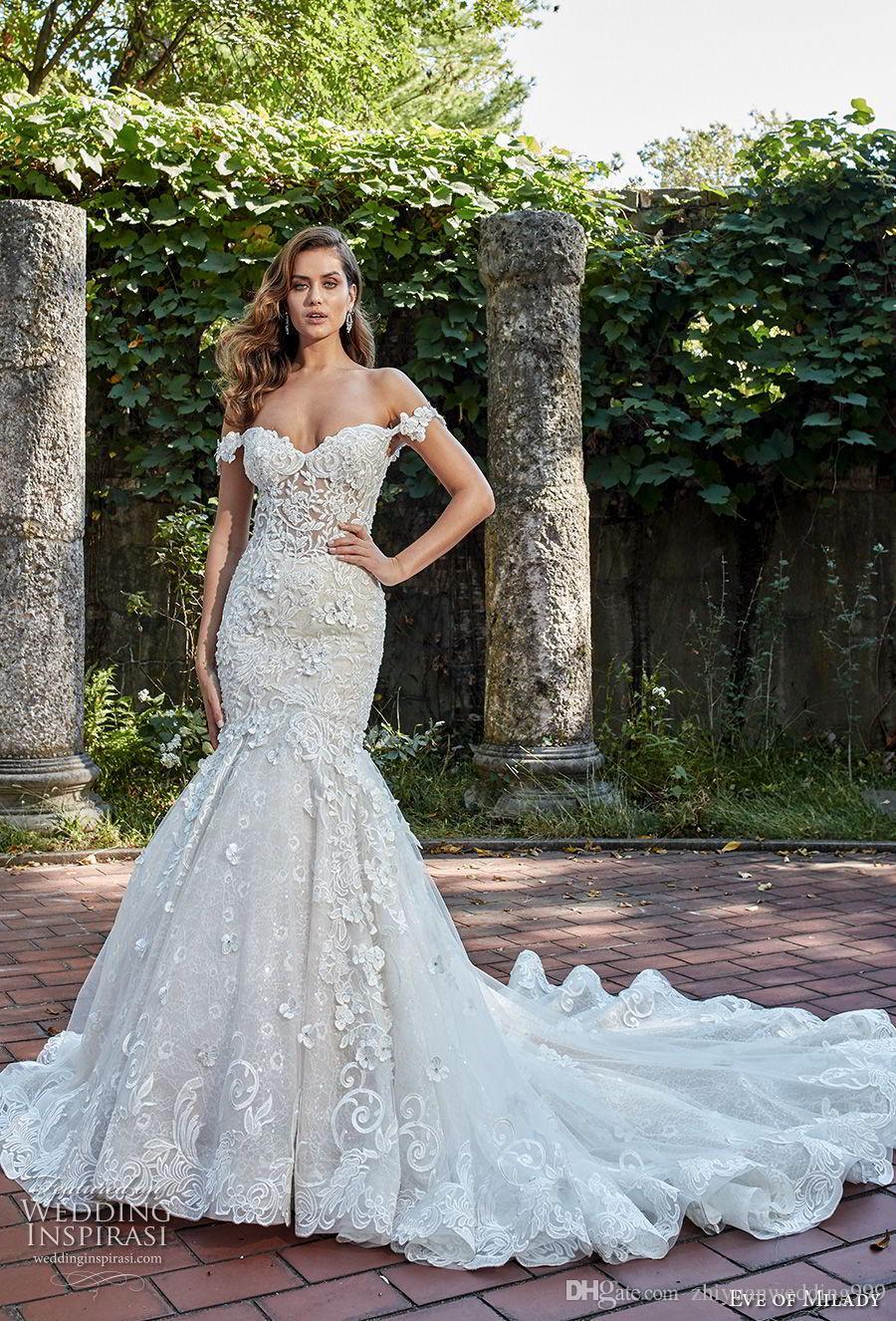 elegant glamorous mermaid wedding dresses 2018 eve of milady off the  shoulder sweetheart neckline full embellishment open back royal train