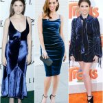 Sydne Style shows holiday party outfit ideas inspired by Anna Kendrick  wearing blue velvet Shop Blue Velvet Dresses