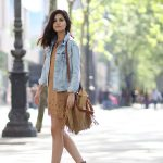 How To Wear A Suede Dress: Adriana Gastélum is wearing a camel suede dress  with