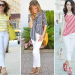 white jeans with striped tee and blouses