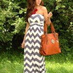 Strapless w chunky necklace Chevron Print maxi dress