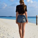 Mickey Mouse Denim Shorts Beach Outfit / Stasha Fashion and travel Blog