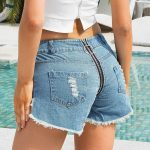 2019 Women Summer Blue Beach Jeans Shorts Ladies Lace Zipper Booty Denim  Shorts Party Club Female Ripped Frayed Edge From Beatricl, $24.77 |  Traveller Location