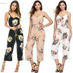 Alishebuy women Floral print summer Jumpsuits 2017 Ankle Length casual Wide  Leg pants sexy strap backless
