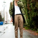 olive green vintage military jacket - black BCBG boots