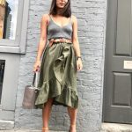 Katherine Ormerod wears a ruffled ASOS khaki skirt with an H&M vest, Mango  sandals and Meli Melo bag. The combination of tan, khaki and grey tones  works