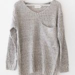 Multi colored knitted sweater with an oversized fit and a large front  chest… Gray Sweater