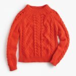 mockneck cable-knit sweater : women pullovers