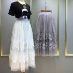 Tulle Maxi Skirt Summer Style Black White Lace Long Tulle Skirts For Women  Jupe Femme Faldas