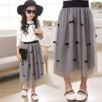 Girl Summer Lace Skirt Girl Fashion Skirt,girl Skirts With Butterfly Gray  Color For
