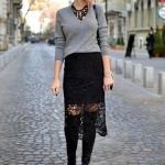 Stylish Black Lace Skirt Outfit for Office Ladies