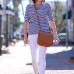 Spring Outfit: striped ballet-back tee with white skinny jeans & denim lace-