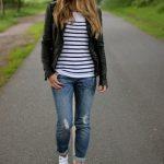 t-shirt, jacket, black leather, leather jacket, blazer, jeans, denim