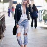 Ripped denim, Converse, white tee, leather jacket. | Denim Days