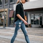 Blonde Woman Wearing Express Black Equipment Shirt Denim Ripped Skinny Jeans  Black Loafers Fashion Jackson Dallas Blogger Fashion Blogger Street Style
