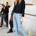 Keep it simple in a black button down, mom jeans and penny loafers. // # StreetStyle