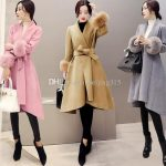 2019 Elegant Plus Size Winter Long Coats Women Fur Sleeves Wool Coat