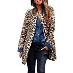 ZOMUSAR Coats Women, Women Winter Warm Open Front Cardigan Leopard