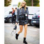 skirt tumblr mini skirt black leather skirt leather skirt sweater grey  sweater bag black bag mini