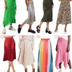 Urban Outfitters Satin Leopard Midi Skirt 4. Topshop Tiger Strip Midi Skirt  5. Reformation Crimson Satin Midi Skirt