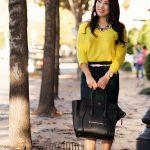 cute & little blog | neon yellow sweater, tartan plaid j. crew factory  pencil