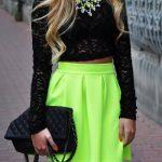 Neon Mini Skirt, Black Top Fashion Trend #neon #mini #side #neon
