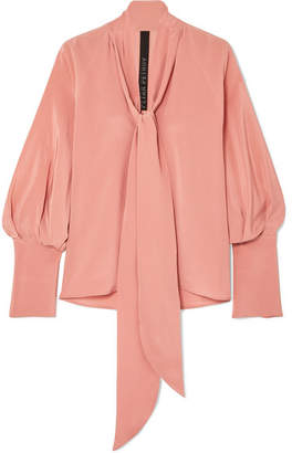 Pink Tie Neck Blouses