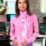 WornOnTV: Bianna's pink tie neck blouse on CBS This Morning | Bianna