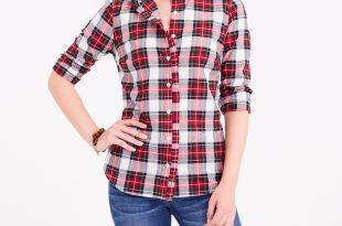 ruffle-front plaid shirt : factorywomen blouses & tops