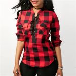 Lace-up Plaid Long Sleeve Women Shirt Fashion Red Black Plaid Blouses New  2018 Women