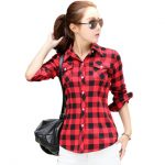 Red Plaid Shirt Women Autumn Long Sleeve Blue flannel Plaid Shirt 2017  Ladies Plus Size Cotton
