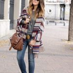 @roressclothes closet ideas #women fashion outfit #clothing style apparel  Trendy Stripe Poncho Outfit Idea