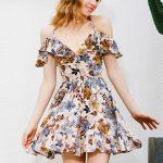 Halter Open Back Cutout Short Multi Color Floral Printed Dress