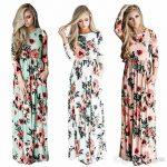 2017 Summer Boho Beach Dress Fashion Floral Printed Women Long Dress Three  Quarter Sleeve Loose Maxi Dress Vestidos Wowen Printed Dress 2017 Spring  Summer