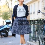 black and white printed skirt, black coat, black leather ankle boots,  fashion week
