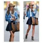 jacket undefined denim jacket boots miranda kerr skirt animal print ankle  boots denim jacket hat