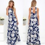 Womens Summer Maxi Dresses 2017 New Ladies Sleeveless Blue Halter Neck Floral  Print Vintage Maxi Long Dress Evening Gown Floral Dress From Fashion1699,