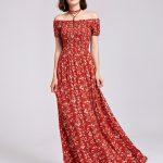 Alisa Pan Printed Off Shoulder Summer Maxi Dress