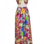 Tropical Printed Maxi Dress, Summer Maxi Dress, Hawaiian Printed Maxi Dress,  Hot Pink